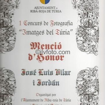 """Mención de Honor en el Concurso de Fotografía """"Imatges de Túria"""""""