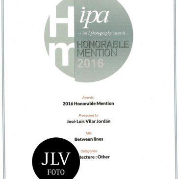 Mención de Honor en el Concurso International Photography Awards (IPA) 2016
